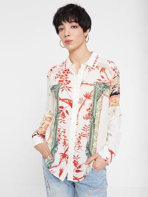 Рубашка белая в принт | 5369229