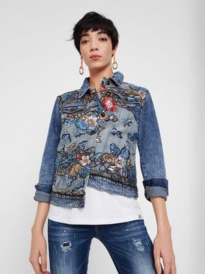 Куртка блакитна з декором | 5369247