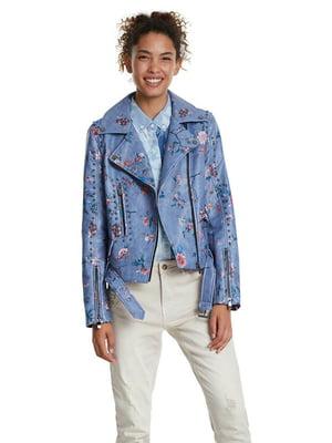 Куртка блакитна з декором | 5369257