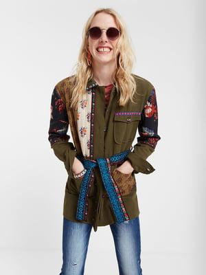 Куртка кольору хакі з декором | 5369258