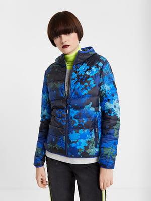Куртка синя в принт | 5369264