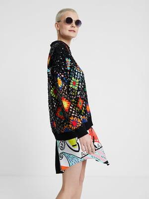Пуловер чорний з декором | 5369275