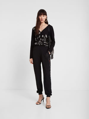 Пуловер чорний з декором | 5369276