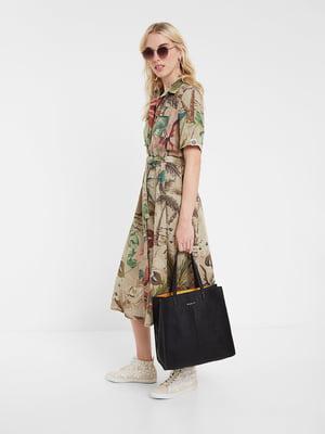 Платье бежевое в принт | 5369363