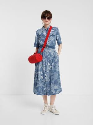 Платье синее в принт | 5369364