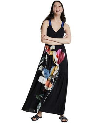 Платье черное в принт | 5369371