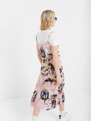 Платье розовое в принт | 5369380
