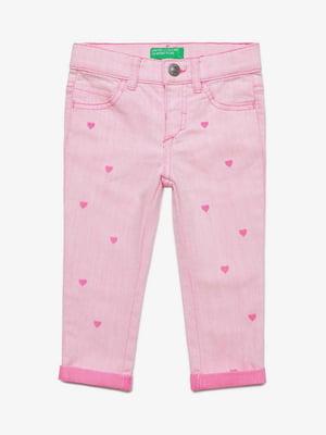 Джинсы розовые с принтом | 5371366