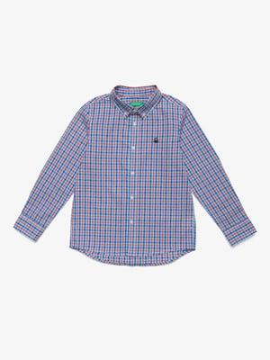 Рубашка синяя в клетку | 5371377