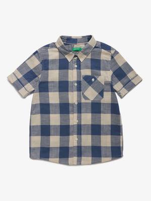 Рубашка синяя в клетку | 5371384