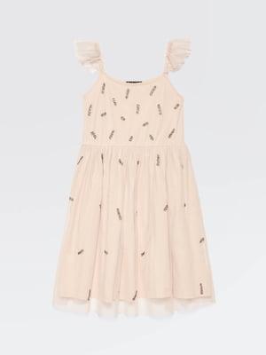 Платье цвета пудры с декором | 5371489