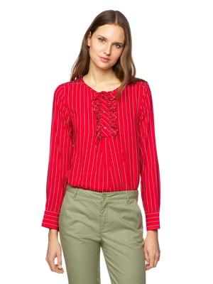 Блуза красная в полоску | 5371859