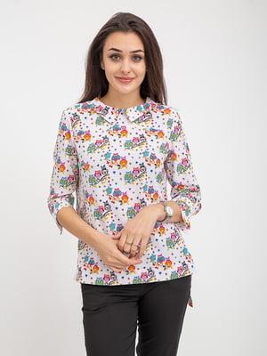 Блуза белая в принт   5374653
