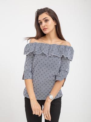 Блуза сине-белая в принт   5374656