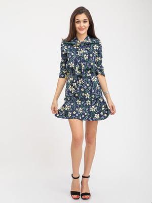 Платье синее в принт | 5374719