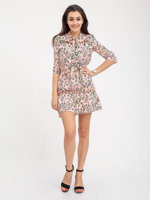 Сукня персикового кольору в принт | 5374720