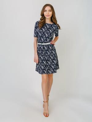 Платье синее в принт | 5374772