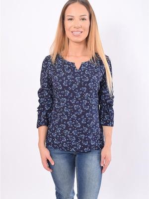 Блуза темно-синяя в принт | 5369548