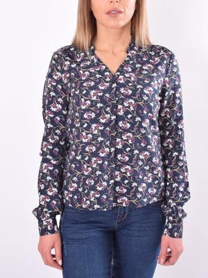 Блуза темно-синяя в цветочный принт | 5369550