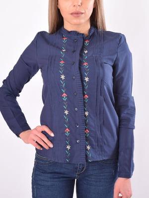 Блуза темно-синяя с декором | 5369554