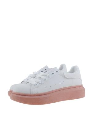 Кроссовки бело-розовые | 5367631
