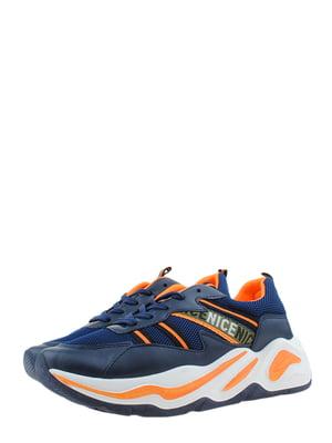Кроссовки сине-оранжевые | 5367636