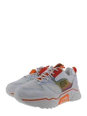 Кроссовки бело-оранжевые | 5367700