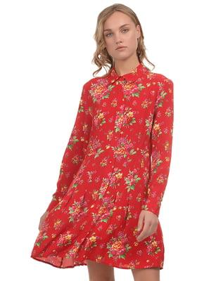 Сукня червона у принт | 5375667