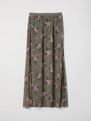 Спідниця кольору хакі в квітковий принт | 5375888