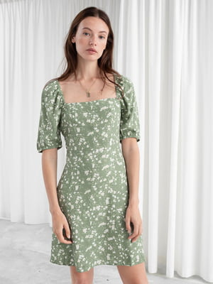 Платье зеленое в принт | 5375975