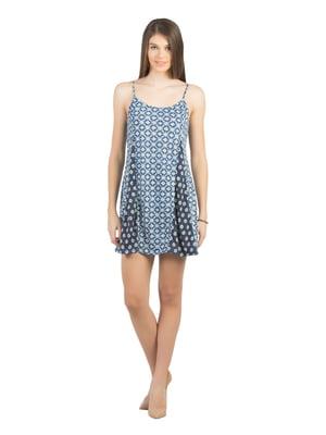Платье цвета индиго в принт | 5376218