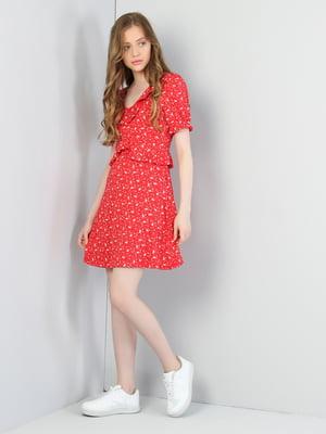 Платье красное в принт | 5376903