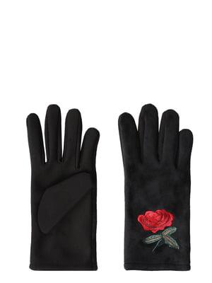 Перчатки черные с декором | 5376947