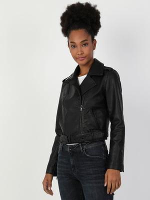 Куртка чорна поліуретанова | 5377603