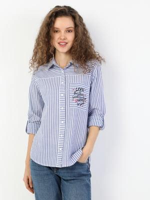 Сорочка синя в смужку | 5377697