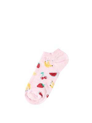 Носки розовые в принт | 5377702