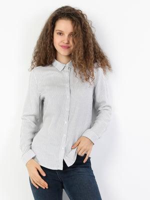 Сорочка кольору індиго в смужку | 5377776