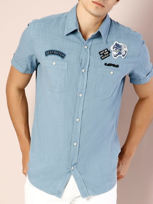 Рубашка синяя с декором   5376451