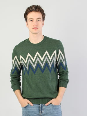 Джемпер зеленый в орнамент | 5376470