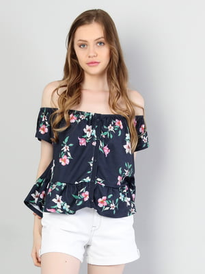 Блуза синяя в цветочный принт | 5376588