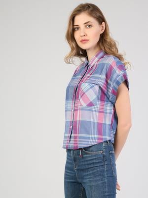 Рубашка цвета индиго в клетку | 5377178