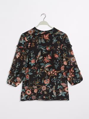 Блуза чорна в квітковий принт | 5373012