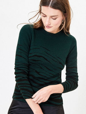 Джемпер зелений в принт | 5372728