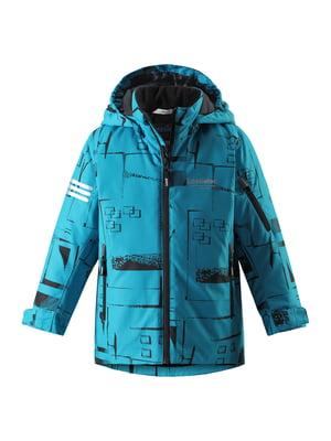 Куртка блакитна з принтом | 5373193