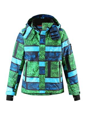 Куртка зеленая с принтом и в полоску   5373483