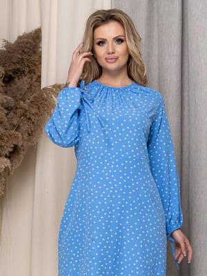 Платье голубое в горох | 5380091
