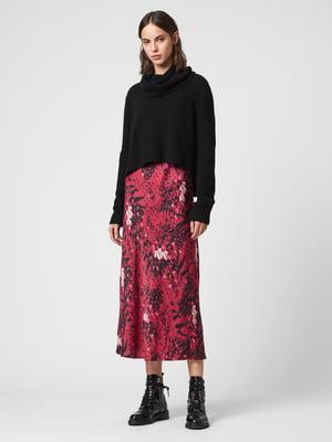 Сукня чорно-рожева з принтом | 5380251