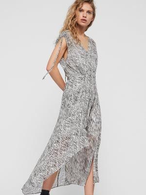 Сукня сіра в принт | 5380519