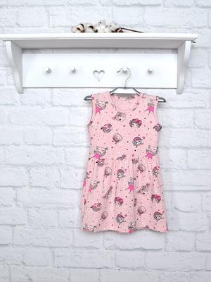 Платье розовое в принт | 5380687
