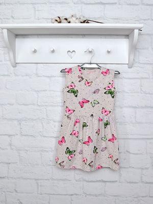 Сукня сіра в принт | 5380688